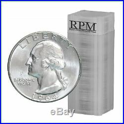90% Silver 1964 Washington Quarters Brilliant Uncirculated 40 Coin Roll $10
