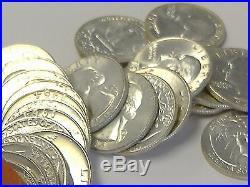 90% Silver Bu/uncirculated Silver1964 Quarters Roll- 40pcs $10face Bu/au