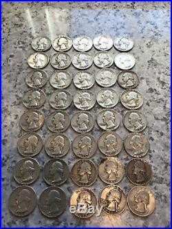 90% Silver Pre 1964 Quarters 4 Rolls & 3 Dime Rolls (1 Mercury) $55 Face