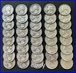 90% Silver Roll 40 U. S. Washington Quarters 1934 To 1964