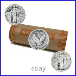 90% Silver Standing Liberty Quarters (1917-1930) 40-Coin Roll Cull/Dateless