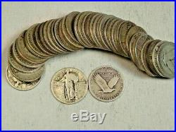 90% Silver Standing Liberty Quarters 40-Coin Roll (withDates)