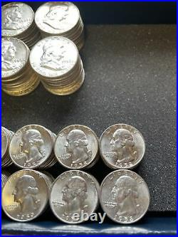90% Silver UNC Franklin Half Dollars Washington Quarters Silvers 4 Rolls Bullion