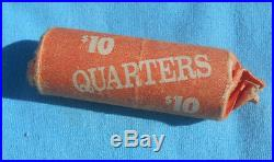 90% Silver Washington Quarters $10 40-Coin Roll, good mixed dates, one roll 1964