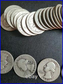 90% Silver Washington Quarters Per Roll of 40 $10 Face Value Circulated