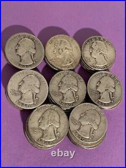 90% Silver Washington Quarters Roll of 40 1932-1964