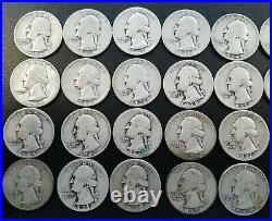 All 1930's Washington Quarters $10 Face Value 90% Silver Roll 40 Coin Bulk Lot