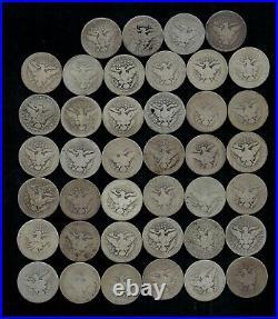 BARBER QUARTER ROLL WORN/DAMAGED 90% Silver (40 Coins) LOT H08