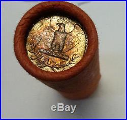 BJSTAMPS OBW Shotgun Roll of 1960 P 90% Silver Quarters BU Coins Toned Ends