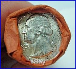BJSTAMPS OBW Shotgun Roll of 1961 D 90% Silver Quarters BU Coins