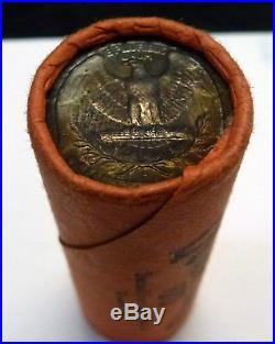 BJSTAMPS OBW Shotgun Roll of 1962 D 90% Silver Quarters BU Coins Toned Ends