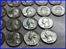 Bank Roll of 40 Washington Uncirculated United States 90% Silver Quarters