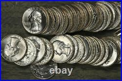 Beautiful Roll of Silver Washington Quarter Cut from Original Mint Sets