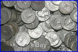 FOUR (4) ROLLS OF WASHINGTON QUARTERS (1932-64) 90% Silver (160 Coins) A09