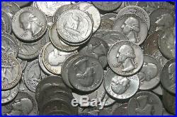 FOUR (4) ROLLS OF WASHINGTON QUARTERS (1932-64) 90% Silver (160 Coins) A80