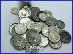 Full Date Roll Of (40) 90% Silver Washington Quarters Better Dates + UNC Mixed