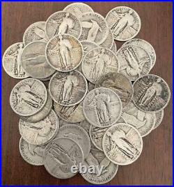 Full Roll of 40 Standing Liberty Quarters 90% Silver Not Junk