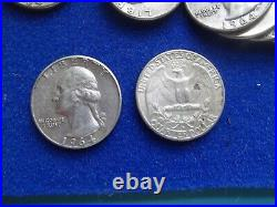 Full roll of 40 SILVER Washington Quarters 25 cent coin US 90% 1964 PD circulate