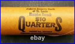 Genuine Original Bank Wrapped $10 Roll of 1964-D Washington Silver 25c Quarters