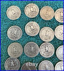 Half Roll. 1945 Washington Quarters. + Bonus 20 coins