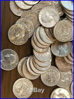 Lot 4 Rolls 1964 P & D 90% Silver Washington Quarters-$40 Face Value-160 Coins
