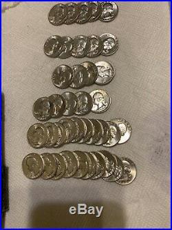 Lot Of 40 Pieces Uncerculated Mint Silver WShington Quarters (Full Roll) Uncerc
