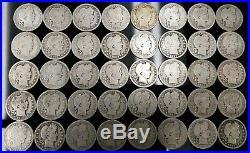 Lot Of 40 Silver Barber Quarters 1893-1915 $10 Face- 1 Roll Em309