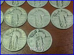 Lot Of 40 Standing Liberty Silver Quarters 1 Roll- Full Dates P, D, S (#1)