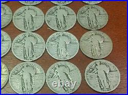 Lot Of 40 Standing Liberty Silver Quarters 1 Roll- Full Dates P, D, S (#2)