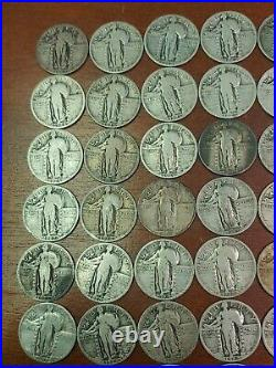 Lot Of 40 Standing Liberty Silver Quarters 1 Roll- Full Dates P, D, S (#6)