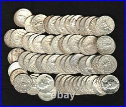 Lot Of 80 Washington 90% Silver Quarters $20 Face Value 90% 2 Roll Lot 1932-1964