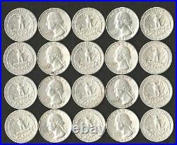 Lot Of 80 Washington 90% Silver Quarters $20 Face Value 90% 2 Roll Lot 1961-1964