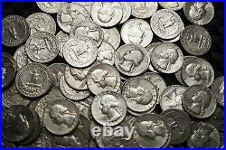 Lot of 20 Washington Quarter 90% Silver Coins 1/2 Roll AG-F/VF RANDOM DATES #W20