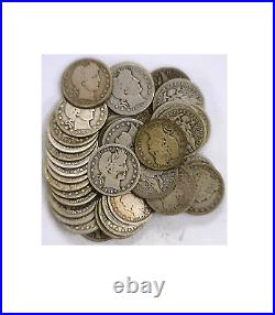 Mixed 40 Coin Common Date Roll 25C Silver Barber Quarters Good Stock Photo