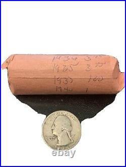 Mixed roll of silver quarters 1934 1935 1936 1937 1938 1939 1940
