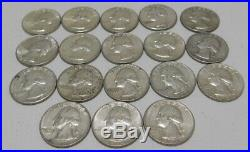 ONE (1) ROLL OF WASHINGTON QUARTERS 90% Silver (40 Coins) CIRCULATED Lot 11