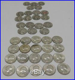 ONE (1) ROLL OF WASHINGTON QUARTERS 90% Silver (40 Coins) CIRCULATED Lot 13