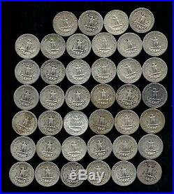 ONE ROLL OF WASHINGTON QUARTERS (1934-58) 90% Silver (40 Coins) LOT D57