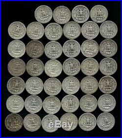 ONE ROLL OF WASHINGTON QUARTERS (1934-59) 90% Silver (40 Coins) LOT B52