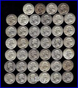 ONE ROLL OF WASHINGTON QUARTERS (1934-64) 90% Silver (40 Coins) LOT A2