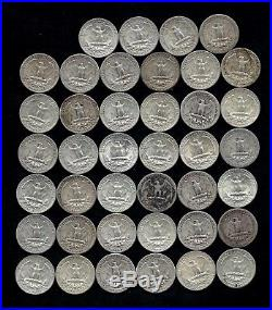 ONE ROLL OF WASHINGTON QUARTERS (1934-64) 90% Silver (40 Coins) LOT E27