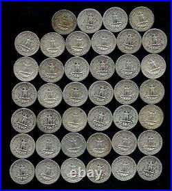 ONE ROLL OF WASHINGTON QUARTERS (1935-58) 90% Silver (40 Coins) LOT E43