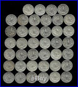 ONE ROLL OF WASHINGTON QUARTERS (1935-59) 90% Silver (40 Coins) LOT S96