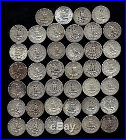 ONE ROLL OF WASHINGTON QUARTERS (1935-64) 90% Silver (40 Coins) LOT A25