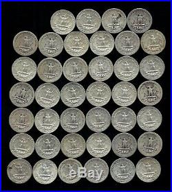 ONE ROLL OF WASHINGTON QUARTERS (1935-64) 90% Silver (40 Coins) LOT A58