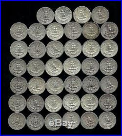ONE ROLL OF WASHINGTON QUARTERS (1935-64) 90% Silver (40 Coins) LOT C96