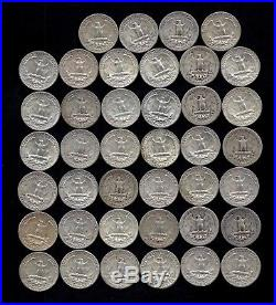 ONE ROLL OF WASHINGTON QUARTERS (1937-64) 90% Silver (40 Coins) LOT B5