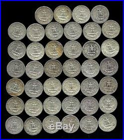 ONE ROLL OF WASHINGTON QUARTERS (1940-64) 90% Silver (40 Coins) LOT T93