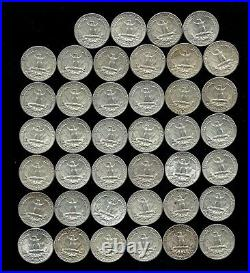 ONE ROLL OF WASHINGTON QUARTERS (1960-64) 90% Silver (40 Coins) LOT E40
