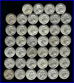 ONE ROLL OF WASHINGTON QUARTERS (1960-64) 90% Silver (40 Coins) LOT F06